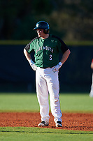 Dartmouth Big Green first baseman Michael Calamari (3) leads off second base during a game against the Northeastern Huskies on March 3, 2018 at North Charlotte Regional Park in Port Charlotte, Florida.  Northeastern defeated Dartmouth 10-8.  (Mike Janes/Four Seam Images)