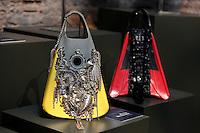 Borse Petra Reinhardt<br /> Roma 03-04-2016 Terme di Diocleziano. Mostra 'In Acqua: H2O molecole di creativita'. Decine di stilisti hanno creato, per l'occasione, abiti, accessori e gioielli che richiamano l'acqua.<br /> Diocleziano Thermae. Exhibition 'In water: H2O molecules of creativity'.Tens of famous stylists created dresses, accessories and jewels that recall water.<br /> Photo Samantha Zucchi Insidefoto