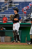 Batavia Muckdogs catcher J.D. Osborne (23) during a game against the West Virginia Black Bears on June 18, 2018 at Dwyer Stadium in Batavia, New York.  Batavia defeated West Virginia 9-6.  (Mike Janes/Four Seam Images)