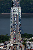 aerial photograph of morning commuter traffic entering Manhattan from Fort Lee, New Jersey on the George Washington Bridge, New York City