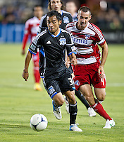 SANTA CLARA, CA - July 18, 2012: San Jose Earthquake midfielder Rafael Baca (30) during the San Jose Earthquakes vs  FC Dallas match at the Buck Shaw Stadium in Santa Clara, California. Final score San Jose Earthquakes 2, FC Dallas 1.