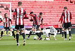 Jake Bennett of Sheffield United in action with Erhun Oztumer of Walsall  during the Carabao Cup round One match at Bramall Lane Stadium, Sheffield. Picture date 9th August 2017. Picture credit should read: Jamie Tyerman/Sportimage