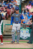 South Bend Cubs catcher Miguel Amaya (9) during a game against the Kane County Cougars on July 21, 2018 at Northwestern Medicine Field in Geneva, Illinois.  South Bend defeated Kane County 4-2.  (Mike Janes/Four Seam Images)