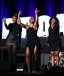 "Nasia Thomas, N'Kenge, Samantha Williams from ""Caroline or Change"" during the BroadwayCON 2020 First Look at the New York Hilton Midtown Hotel on January 24, 2020 in New York City."