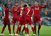 5th November 2019; Anfield, Liverpool, Merseyside, England; UEFA Champions League Football, Liverpool versus Genk; Alex Oxlade-Chamberlain of Liverpool celebrates his 53rd minute goal with his team mates - Editorial Use