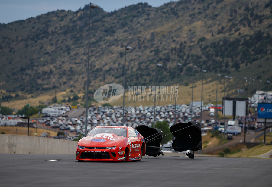 Jul 23, 2017; Morrison, CO, USA; NHRA pro stock driver Drew Skillman during the Mile High Nationals at Bandimere Speedway. Mandatory Credit: Mark J. Rebilas-USA TODAY Sports