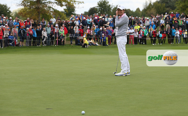 Catriona Matthew (SCO) putting for the hole on the 10th during Saturday morning's Foursomes, at The Solheim Cup 2015 played at Golf Club St. Leon-Rot, Mannheim, Germany.  19/09/2015. Picture: Golffile   David Lloyd<br /> <br /> All photos usage must carry mandatory copyright credit (&copy; Golffile   David Lloyd)