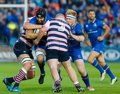 8th September 2017, RDS Arena, Dublin, Ireland; Guinness Pro14 Rugby, Leinster versus Cardiff Blues; Scott Fardy of Leinster is tackled by Seb Davies of Cardiff and Keiron Assiratti of Cardiff