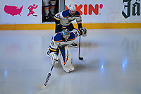 June 12, 2019: St. Louis Blues goaltender Jordan Binnington (50) takes the ice for game 7 of the NHL Stanley Cup Finals between the St Louis Blues and the Boston Bruins held at TD Garden, in Boston, Mass.  The Saint Louis Blues defeat the Boston Bruins 4-1 in game 7 to win the 2019 Stanley Cup Championship.  Eric Canha/CSM