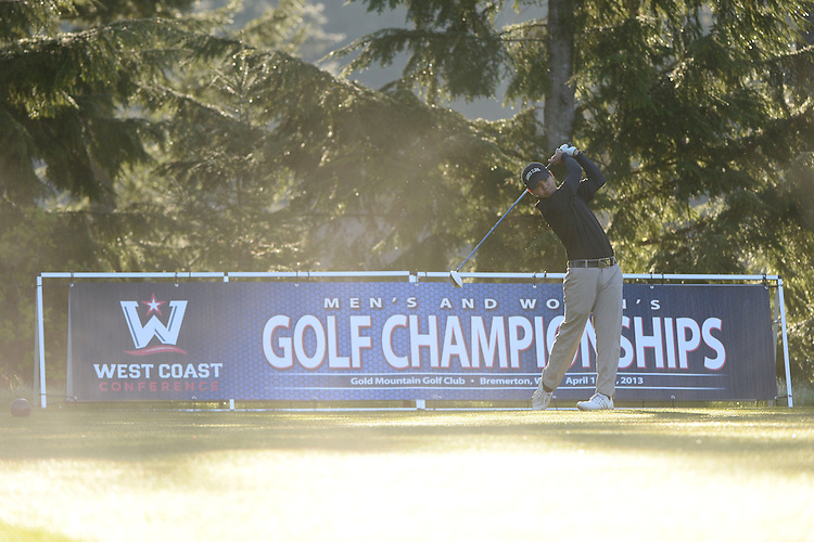 April 15, 2013; Bremerton, WA, USA; Santa Clara Broncos Gio Gandionco during the WCC Golf Championships at Gold Mountain Golf Club.