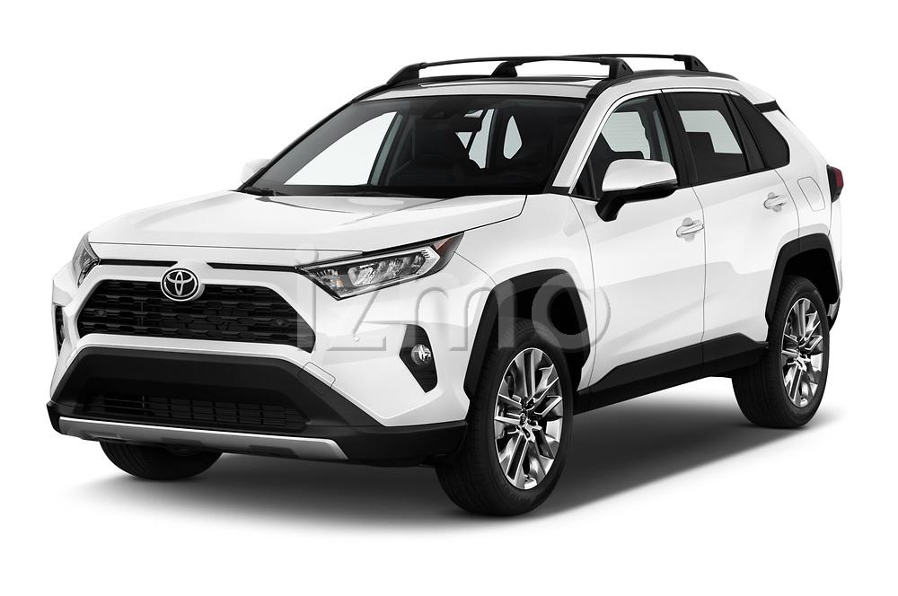 2019 Toyota RAV4 Limited 5 Door SUV angular front stock photos of front three quarter view