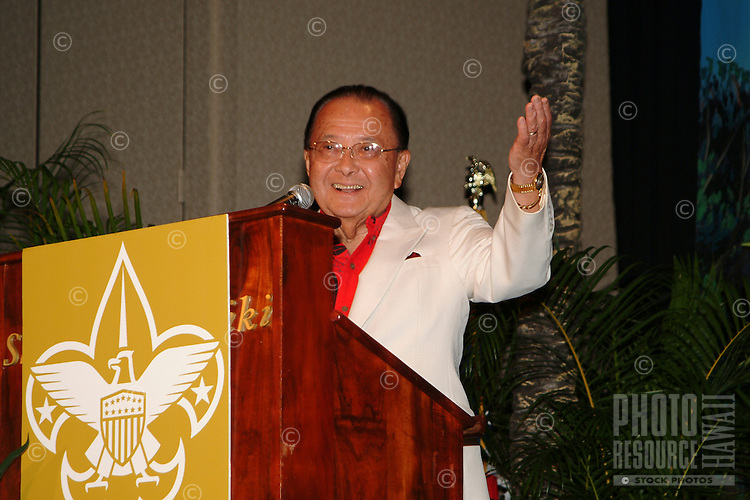 Senator Daniel Inouye giving a talk at the Boy Scouts Aloha council distingued citizen award ceremony. Senator Inouye has represented Hawaii in the senate since 1962. He is the third most senior member of the senate.