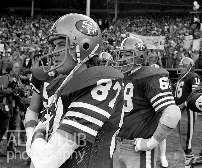 San Francisco 49ers vs.Dallas Cowboys at Candlestick Park Sunday, January 10. 1982..49ers beat Cowboys 28-27 for Conference Championship..(87) Dwight Clark and (68) John Ayers...Photo By Al Golub/Golub Photography.
