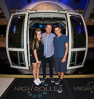 "LAS VEGAS, NV - AUGUST 3:   ***HOUSE COVERAGE*** Chris Harrison, host of popular American romance/reality series ""The Bachelor,"" ""The Bachelorette"",  ""Bachelor in Paradise"" and ""Who Wants To Be A Millionaire,"" pictured 550 feet above Las Vegas on the High Roller observation wheel at The LINQ Promenade with daughter Joshua and son Taylor in Las Vegas, Nevada on August 3, 2016. Credit: Erik Kabik Photography/ MediaPunch"