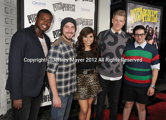 HOLLYWOOD, CA - SEPTEMBER 24: Pentatonix attends the 'Pitch Perfect' - Los Angeles Premiere at ArcLight Hollywood on September 24, 2012 in Hollywood, California.