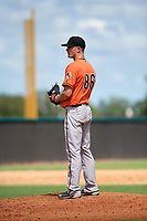 Baltimore Orioles pitcher Tim Naughton (86) looks in for the sign during an Instructional League game against the New York Yankees on September 23, 2017 at the Yankees Minor League Complex in Tampa, Florida.  (Mike Janes/Four Seam Images)