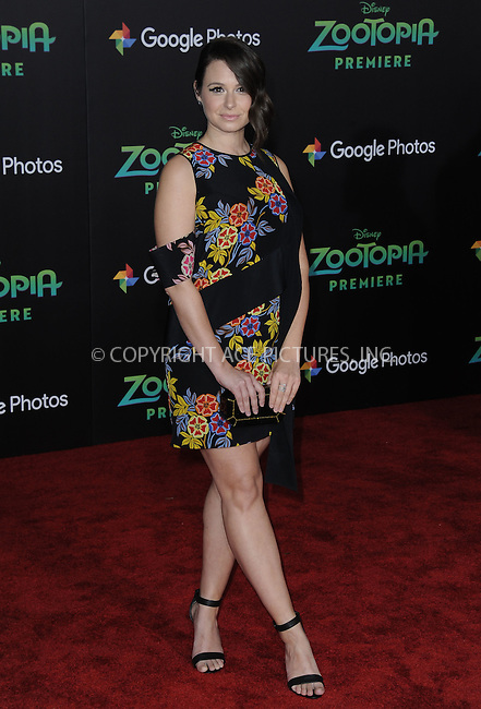 WWW.ACEPIXS.COM<br /> <br /> February 17 2016, LA<br /> <br /> Katie Lowes attending the premiere of Walt Disney Animation Studios' 'Zootopia' at the El Capitan Theatre on February 17, 2016 in Hollywood, California. <br /> <br /> <br /> By Line: Peter West/ACE Pictures<br /> <br /> <br /> ACE Pictures, Inc.<br /> tel: 646 769 0430<br /> Email: info@acepixs.com<br /> www.acepixs.com