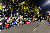 "Pictured: Locals gather at Castle Square Gardens to watch the Christmas parade in Swansea, Wales, UK. Sunday 19 November 2018<br /> Re: Swansea Christmas parade attended by thousands has been branded a ""shambles"" for having just three floats.<br /> The annual festive event in south Wales, which took place on Sunday, promised ""dynamic dance-troupes"" as well as ""spectacular shows and stages"".<br /> But the parade was scaled down, leading to a barrage of criticism on social media because of roadworks in the city centre. <br /> The leader of Swansea Council, Rob Stewart apologised on Facebook and said the parade was not ""good enough"".<br /> Parents took on social media to voice their anger, calling the event ""a load of rubbish"" and claiming there was nothing for young children apart from ""a loud music float with Santa on""."