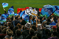 Fans in the grandstand during the Super Rugby Match between the Blues and the Chiefs at Eden Park in Auckland, New Zealand on Friday, 26 May 2017. Photo: Simon Watts / www.lintottphoto.co.nz