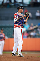 Aberdeen Ironbirds pitcher Travis Seabrooke (27) looks in for the sign during a game against the Tri-City ValleyCats on August 6, 2015 at Ripken Stadium in Aberdeen, Maryland.  Tri-City defeated Aberdeen 5-0 in a combined no-hitter.  (Mike Janes/Four Seam Images)