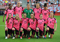 20170719 - UTRECHT , NETHERLANDS : Scottish team  pictured during the female soccer game between England and Scotland  , the frist game in group D at the Women's Euro 2017 , European Championship in The Netherlands 2017 , Wednesday 19 th June 2017 at Stadion De Galgenwaard  in Utrecht , The Netherlands PHOTO SPORTPIX.BE | DIRK VUYLSTEKE