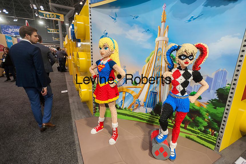 Lego display outside their booth at the 114th North American International Toy Fair in the Jacob Javits Convention center in New York on Sunday, February 19, 2017.  The four day trade show with over 1000 exhibitors connects buyers and sellers and draws tens of thousands of attendees.  The toy industry generates over $26 billion in the U.S. alone and Toy Fair is the largest toy trade show in the Western Hemisphere. (© Richard B. Levine)