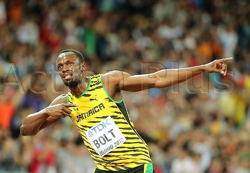 22.08,2015. Beijing, China.   Usain Bolt of Jamaica celebrates after winning the Men's 100 M Final at the 15th International Association of Athletics Federations (IAAF) Athletics World Championships in Beijing, China, 23 August 2015.