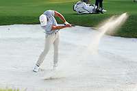 Brooks Koepka (USA) hits out of a fairway bunker on the 18th hole during the third round of the 100th PGA Championship at Bellerive Country Club, St. Louis, Missouri, USA. 8/11/2018.<br /> Picture: Golffile.ie | Brian Spurlock<br /> <br /> All photo usage must carry mandatory copyright credit (&copy; Golffile | Brian Spurlock)