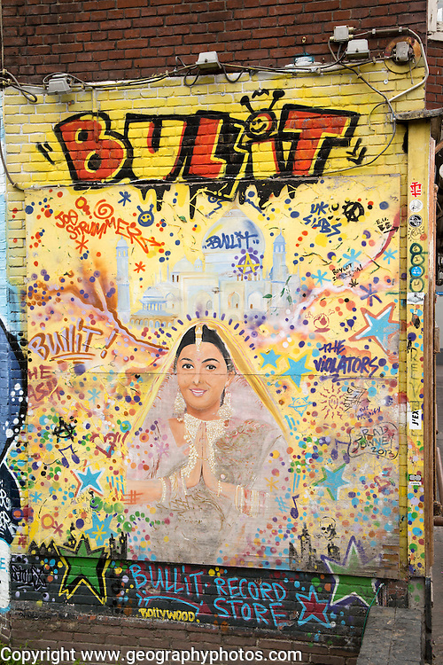Bullit record store street art graffiti, Eindhoven city centre, North Brabant province, Netherlands