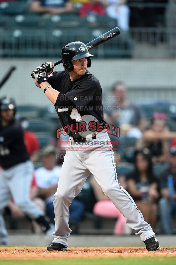 San Antonio Missions third baseman Bridger Hunt (4) at bat during a game against the Arkansas Travelers on May 24, 2014 at Dickey-Stephens Park in Little Rock, Arkansas.  Arkansas defeated San Antonio 4-2.  (Mike Janes/Four Seam Images)