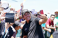 Phil Mickelson (USA) does selfie photos with fans after finishing his final round of the 118th U.S. Open Championship at Shinnecock Hills Golf Club in Southampton, NY, USA. 17th June 2018.<br /> Picture: Golffile | Brian Spurlock<br /> <br /> <br /> All photo usage must carry mandatory copyright credit (&copy; Golffile | Brian Spurlock)