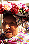 Sandia, San Juan del Oro, Peru. Woman with traditional hat  decorated with flowers.