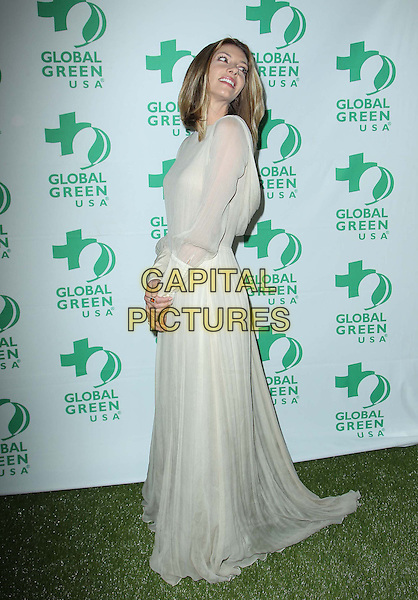 Dawn Olivieri.10th Annual Global Green USA Pre-Oscar Party held at Avalon, Hollywood, California, USA..20th February 2013.full length white cream long sleeve dress sheer side looking over shoulder .CAP/ADM/KB.©Kevan Brooks/AdMedia/Capital Pictures.