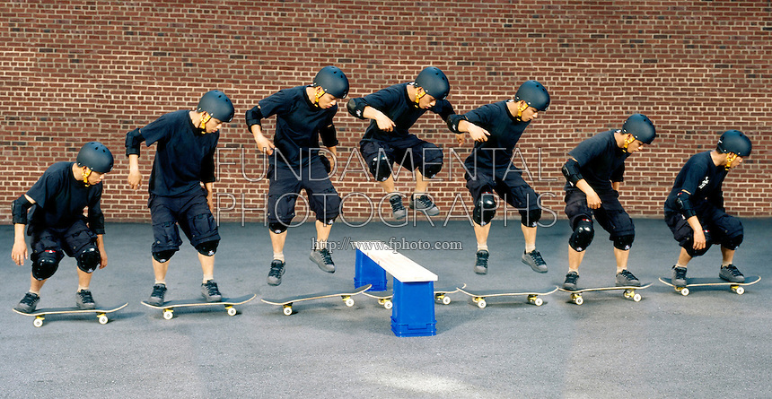 HORIZONTAL INERTIA: SKATEBOARDER JUMPS BARRIER<br /> Newton's 1st Law: Moving at Constant Velocity<br /> The Skateboarder jumps straight up at the barrier.  Both boarder and board will continue to move with their original horizontal component of motion. After the barrier is passed, the boarder falls neatly back onto the board.