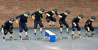 HORIZONTAL INERTIA: SKATEBOARDER JUMPS BARRIER<br />