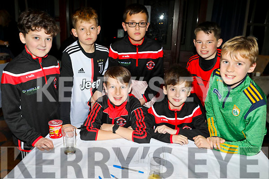 Ready for action at the St Brendan's Park FC Quiz in the Meadowlands on Friday.<br /> Seated l to r: Adam O'Neill and Tadhg Falvey.<br /> Back l to r: Michael O'Keeffe, Kowal Czyk, Patrick Wojtalik, Ethan Ballard and Michael Quirke.