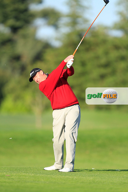Eddie Doyle (Natural Golf School) on the 13th tee during Round 1 of The Cassidy Golf 103rd Irish PGA Championship in Roganstown Golf Club on Thursday 10th October 2013.<br /> Picture:  Thos Caffrey / www.golffile.ie