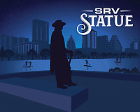 Stevie Ray Vaughan Memorial Statue silhouette in blue.