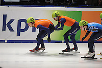SHORTTRACK: DORDRECHT: Sportboulevard Dordrecht, 25-01-2015, ISU EK Shorttrack, Relay Men Final, Freek VAN DER WART (NED | #52), Daan BREEUWSMA (NED | #49), ©foto Martin de Jong