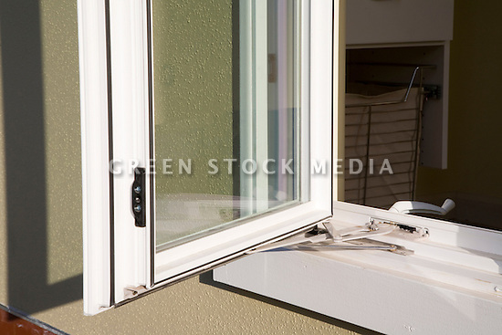 Dual paned window helps to maximize insulation and building energy efficiency. This home is Santa Clara University's team entry in Solar Decathlon 2007 (scusolar.org). Santa Clara, California, USA