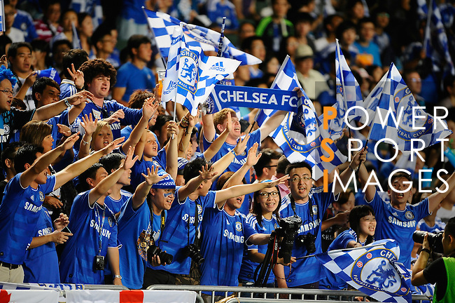 SO KON PO, HONG KONG - JULY 30: Chinese fans cheer during the Asia Trophy pre-season friendly match between Chelsea and Aston Villa at the Hong Kong Stadium on July 30, 2011 in So Kon Po, Hong Kong.  Photo by Victor Fraile / The Power of Sport Images