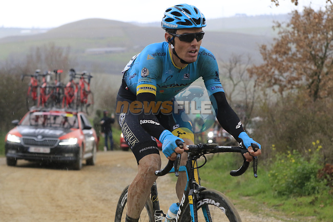 Luis Leon Sanchez (ESP) Astana on gravel sector 8 Monte Santa Maria during the 2017 Strade Bianche running 175km from Siena to Siena, Tuscany, Italy 4th March 2017.<br /> Picture: Eoin Clarke | Newsfile<br /> <br /> <br /> All photos usage must carry mandatory copyright credit (&copy; Newsfile | Eoin Clarke)