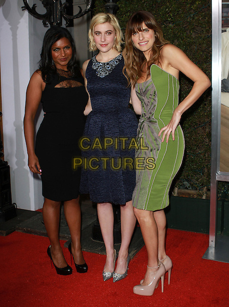 """MINDY KALING, GRETA GERWIG & LAKE BELL.""""No Strings Attached"""" Los Angeles Premiere held At The Regency Village Theatre, Westwood, CA, USA..January 11th, 2010.full length black dress blue green print.CAP/ADM/KB.©Kevan Brooks/AdMedia/Capital Pictures."""