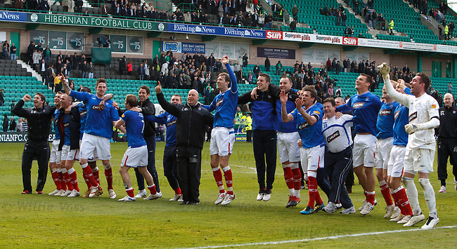 Rangers celebrate at the end of the match as they clinch the 2009-10 SPL championship at Easter Road