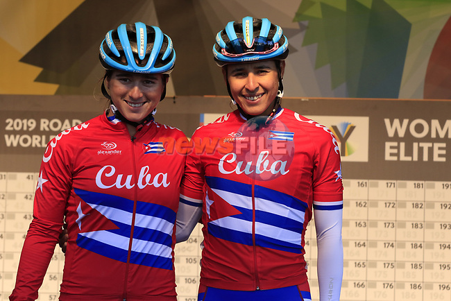 Cuban team at sign on for the start of the Women Elite Road Race of the UCI World Championships 2019 running 149.4km from Bradford to Harrogate, England. 28th September 2019.<br /> Picture: Eoin Clarke | Cyclefile<br /> <br /> All photos usage must carry mandatory copyright credit (© Cyclefile | Eoin Clarke)