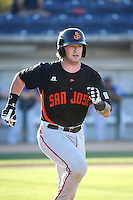 Ty Ross (43) of the San Jose Giants runs to first base during a game against the Rancho Cucamonga Quakes at LoanMart Field on August 30, 2015 in Rancho Cucamonga, California. Rancho Cucamonga defeated San Jose, 8-3. (Larry Goren/Four Seam Images)