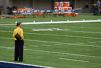 California Athletic Director Sandy Barbour is pictured standing on the field before the game at Memorial Stadium in Berkeley, California on September 1st, 2012.  Nevada Wolf Pack defeated California, 31-24.