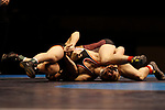 LA CROSSE, WI - MARCH 11: Dustin Weinmann of Wisconsin-La Crosse tangles up with Cross Cannone of Wartburg in the 141 weight class during NCAA Division III Men's Wrestling Championship held at the La Crosse Center on March 11, 2017 in La Crosse, Wisconsin. Weinmann beat Cannone 4-0 to win the National Championship. (Photo by Carlos Gonzalez/NCAA Photos via Getty Images)