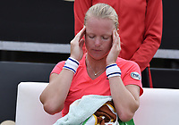 BOGOTA -COLOMBIA. 13-04-2017. Kiki Bertens (NED) reacciona durante juego contra Francesca Schiavone (ITA) de cuartos de final del Claro Open Colsanitas WTA 2017 jugado en el Club Los Lagartos en Bogota. /  Kiki Bertens (NED) reacts during match against Francesca Schiavone (ITA) for the quater final of Claro Open Colsanitas WTA 2017 played at Club Los Lagartos in Bogota city. Photo: VizzorImage/ Gabriel Aponte / Staff