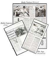 Images used in various newspapers around the world. Daily Express (UK), The Age (Australia) & Daily Nation (Kenya)